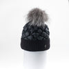 PUFFER BEANIE WITH KNITTED CUFF WITH UPCYCLED FUR POM GOLF  2100 BLACK ONE SIZE