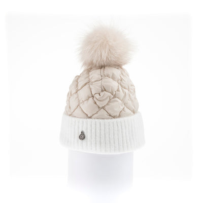 PUFFER BEANIE WITH KNITTED CUFF WITH UPCYCLED FUR POM GOLF  4800 BEIGE ONE SIZE