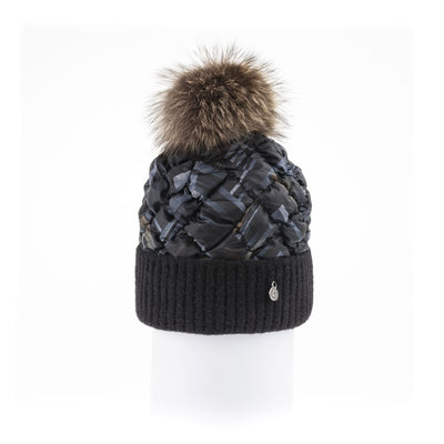 PUFFER BEANIE WITH KNITTED CUFF WITH UPCYCLED FUR POM GOLF  7900 GREY MIX ONE SIZE