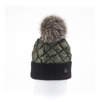 PUFFER BEANIE WITH KNITTED CUFF WITH UPCYCLED FUR POM GOLF  9800 KHAKI ONE SIZE