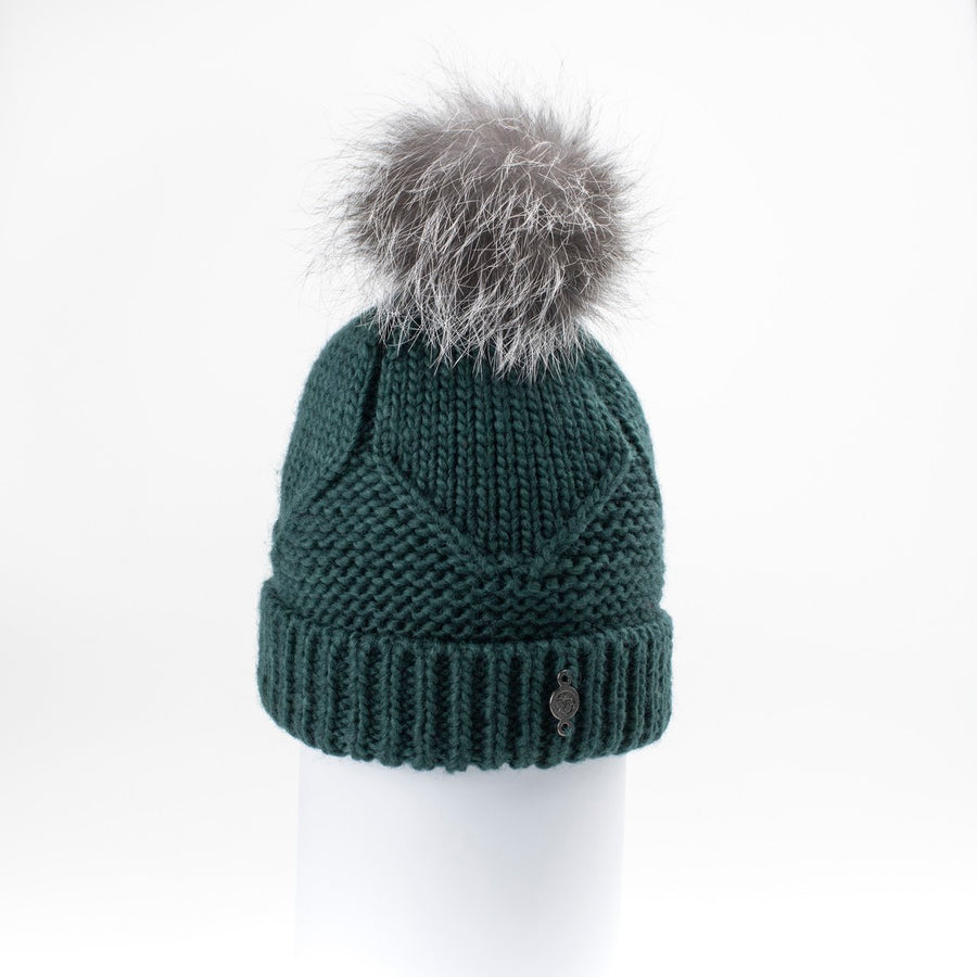 PEAK BEANIE WITH UPCYCLED FUR POM