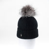 CLASSIC BEANIE WITH UPCYCLED FUR POM GOLF  2100 BLACK ONE SIZE
