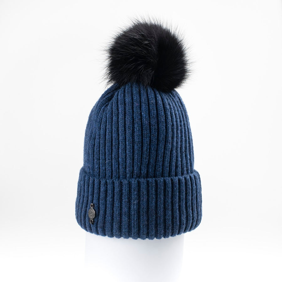 CLASSIC BEANIE WITH UPCYCLED FUR POM