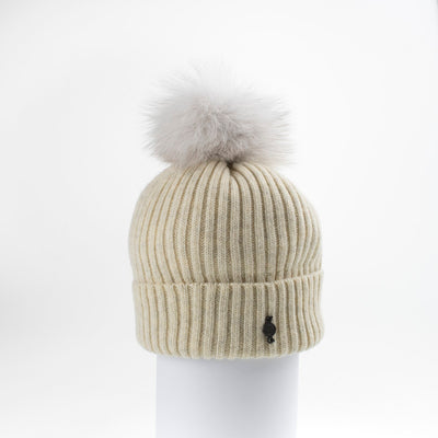 CLASSIC BEANIE WITH UPCYCLED FUR POM GOLF  4800 BEIGE ONE SIZE