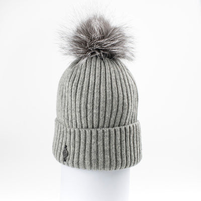 CLASSIC BEANIE WITH UPCYCLED FUR POM GOLF  7900 GREY ONE SIZE
