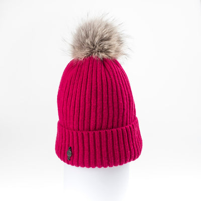 CLASSIC BEANIE WITH UPCYCLED FUR POM GOLF  8700 FUCHSIA ONE SIZE