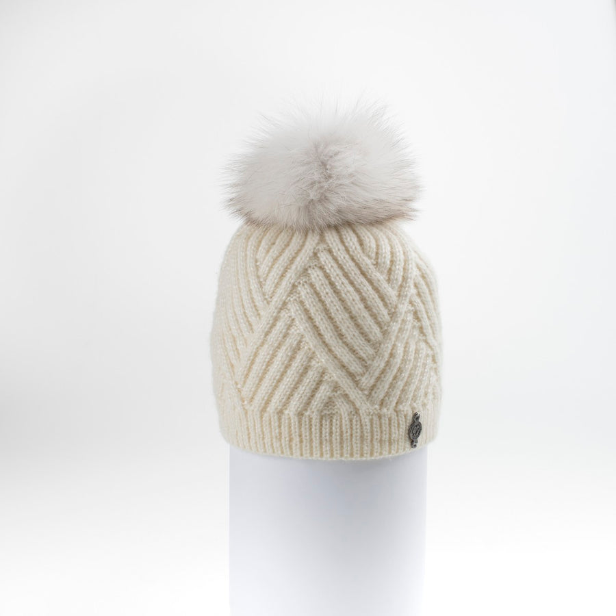 CHEVRON BEANIE WITH UPCYCLED FUR POM