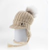 BEANIE WITH VISOR WITH UPCYCLED FUR POM GOLF  4900 CREAM ONE SIZE