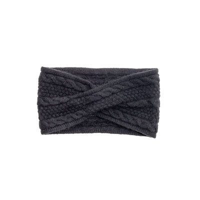 CASHMERE CABLE HEADBAND GOLF  2100 BLACK O/S