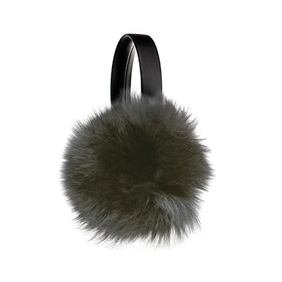 EARMUFFS WITH REUSED FUR FASHION  2100 BLACK FOX O/S