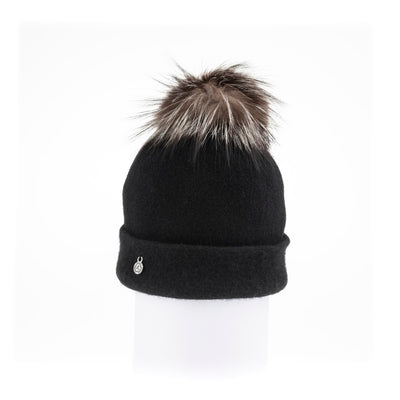 ODETTA - ORMOS BEANIE WITH UPCYCLED FUR POM GOLF  2100 BLACK O/S