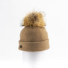 ODETTA - ORMOS BEANIE WITH UPCYCLED FUR POM GOLF  2400 CAMEL O/S