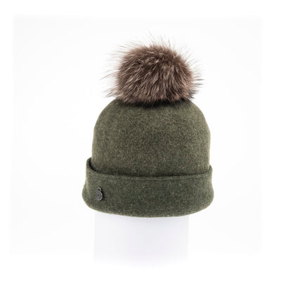 ODETTA - ORMOS BEANIE WITH UPCYCLED FUR POM GOLF  3400 GREEN MIX O/S