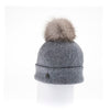 ODETTA - ORMOS BEANIE WITH UPCYCLED FUR POM GOLF  8200 HEATHER GREY O/S