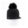 ORMOS POMPOM CAP HAT WITH SUEDE BAND AND AN UPCYCLED FUR POM GOLF  2100 BLACK O/S