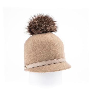 ORMOS POMPOM CAP HAT WITH SUEDE BAND AND AN UPCYCLED FUR POM GOLF  2400 CAMEL O/S