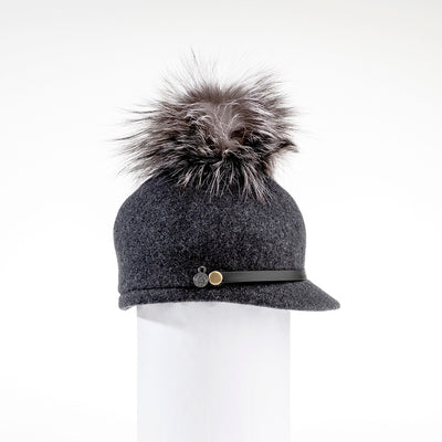 ORMOS POMPOM CAP HAT WITH SUEDE BAND AND AN UPCYCLED FUR POM GOLF  2600 CHARCOAL O/S