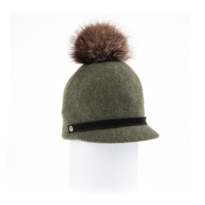 ORMOS POMPOM CAP HAT WITH SUEDE BAND AND AN UPCYCLED FUR POM GOLF  3400 GREEN MIX O/S