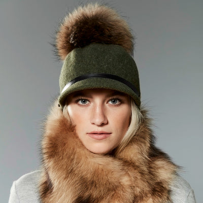 ORMOS POMPOM CAP HAT WITH SUEDE BAND AND AN UPCYCLED FUR POM