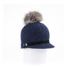 ORMOS POMPOM CAP HAT WITH SUEDE BAND AND AN UPCYCLED FUR POM GOLF  4500 NAVY MIX O/S