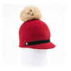 ORMOS POMPOM CAP HAT WITH SUEDE BAND AND AN UPCYCLED FUR POM GOLF  5800 RED O/S