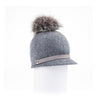 ORMOS POMPOM CAP HAT WITH SUEDE BAND AND AN UPCYCLED FUR POM GOLF  8200 HEATHER GREY O/S