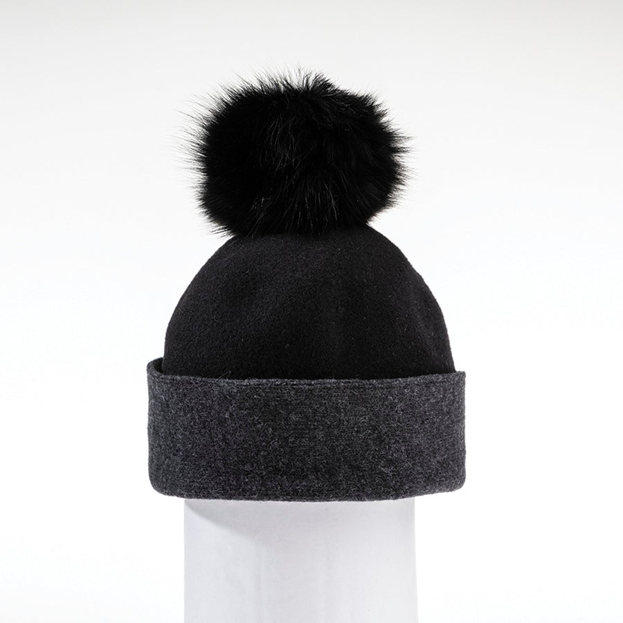 ODETTE ORMOS COLOR BLOCKED BEANIE WITH UPCYCLED FUR POM