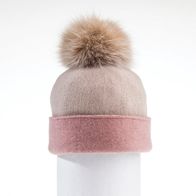 ODETTE ORMOS COLOR BLOCKED BEANIE WITH UPCYCLED FUR POM GOLF  2300 CASHMERE-BLUSH ONE SIZE