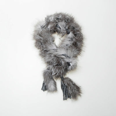 UPCYCLED FUR BRAIDED SCARF GOLF  7900 SILVER FOX O/S