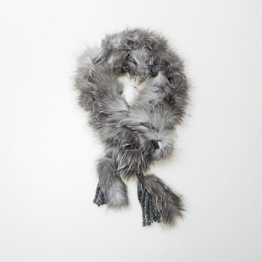 UPCYCLED FUR BRAIDED SCARF GOLF  1300 NORWEGIAN FOX O/S