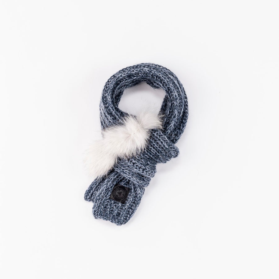CHUNKY SCARF WITH REUSED FUR GOLF  2200 BLUE O/S