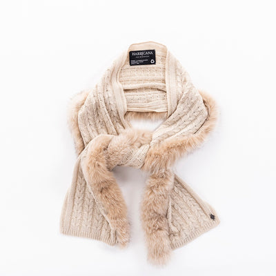 RECYCLED CASHMERE CABLE SCARF GOLF  4900 CREAM O/S