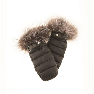 PUFFER MITTS WITH UPCYCLED FUR TRIM GOLF  2100 BLACK ONE SIZE