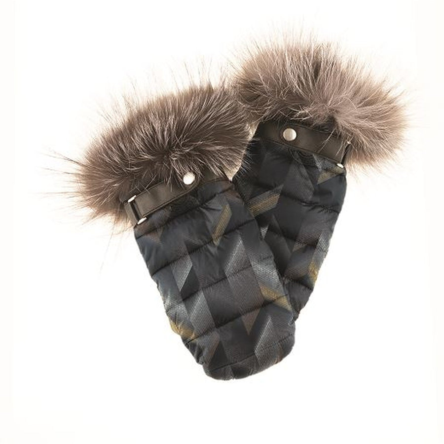 PUFFER MITTS WITH UPCYCLED FUR TRIM
