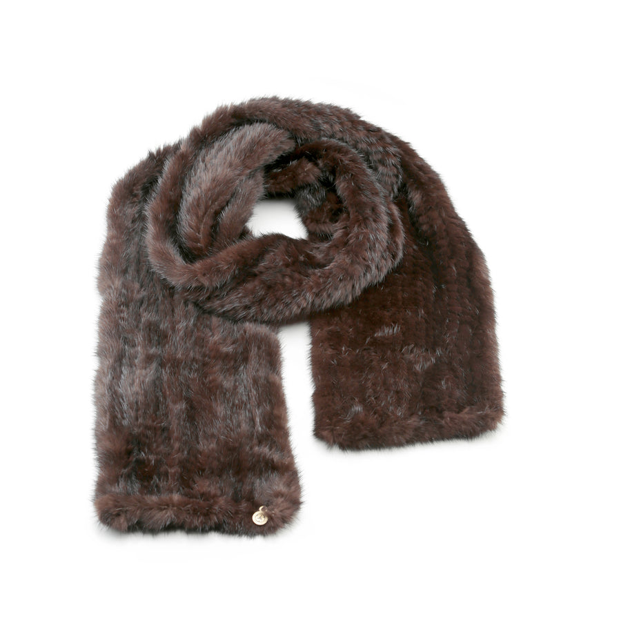 KNITTED FUR SCARF IN UPCYCLED FUR