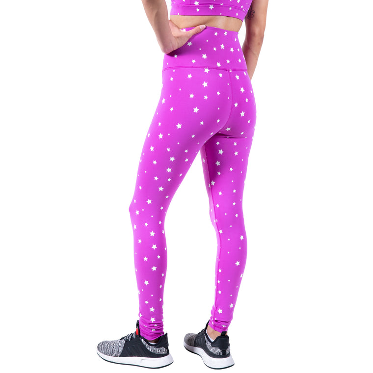 LAUREN Z SIDE® | GLOW IN THE DARK STARS YOGA PANT (PINK) LIMITED EDITION