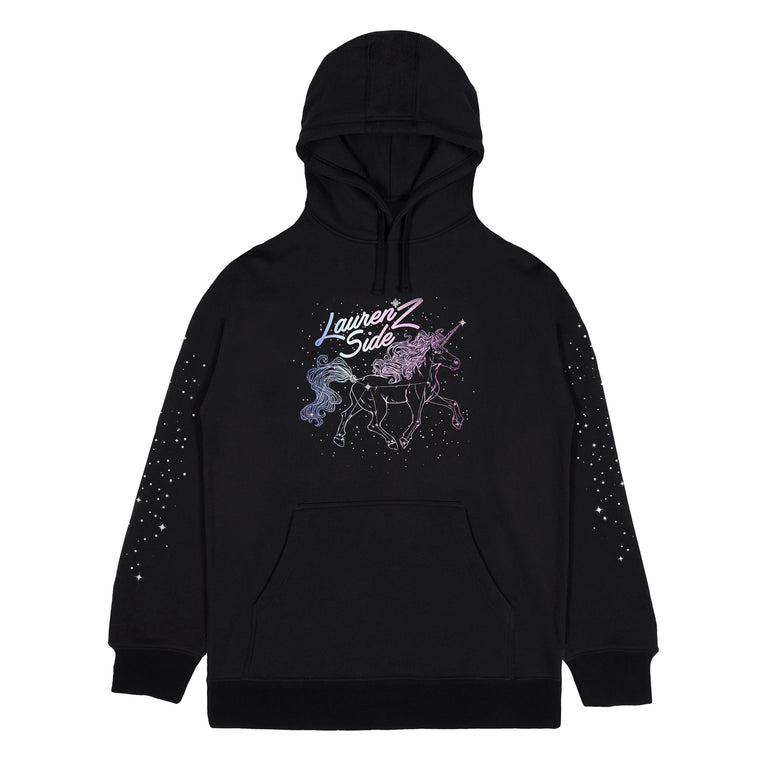 LAUREN Z SIDE® | UNICORN GLITTER HOODIE (BLACK) LIMITED EDITION