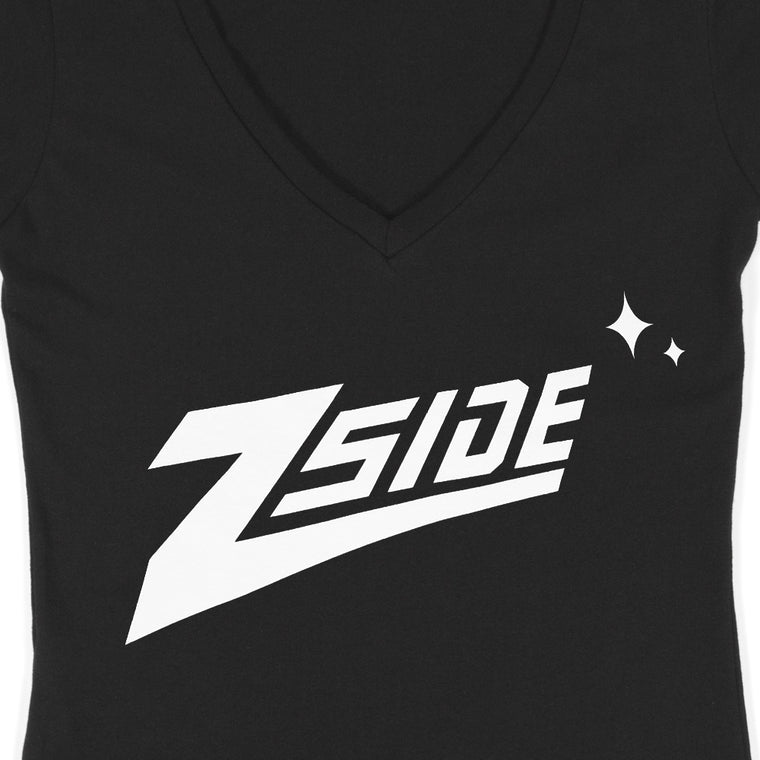 "Lauren Z Side™  ""Z-Side"" Women's V-Neck Tee (Black)"