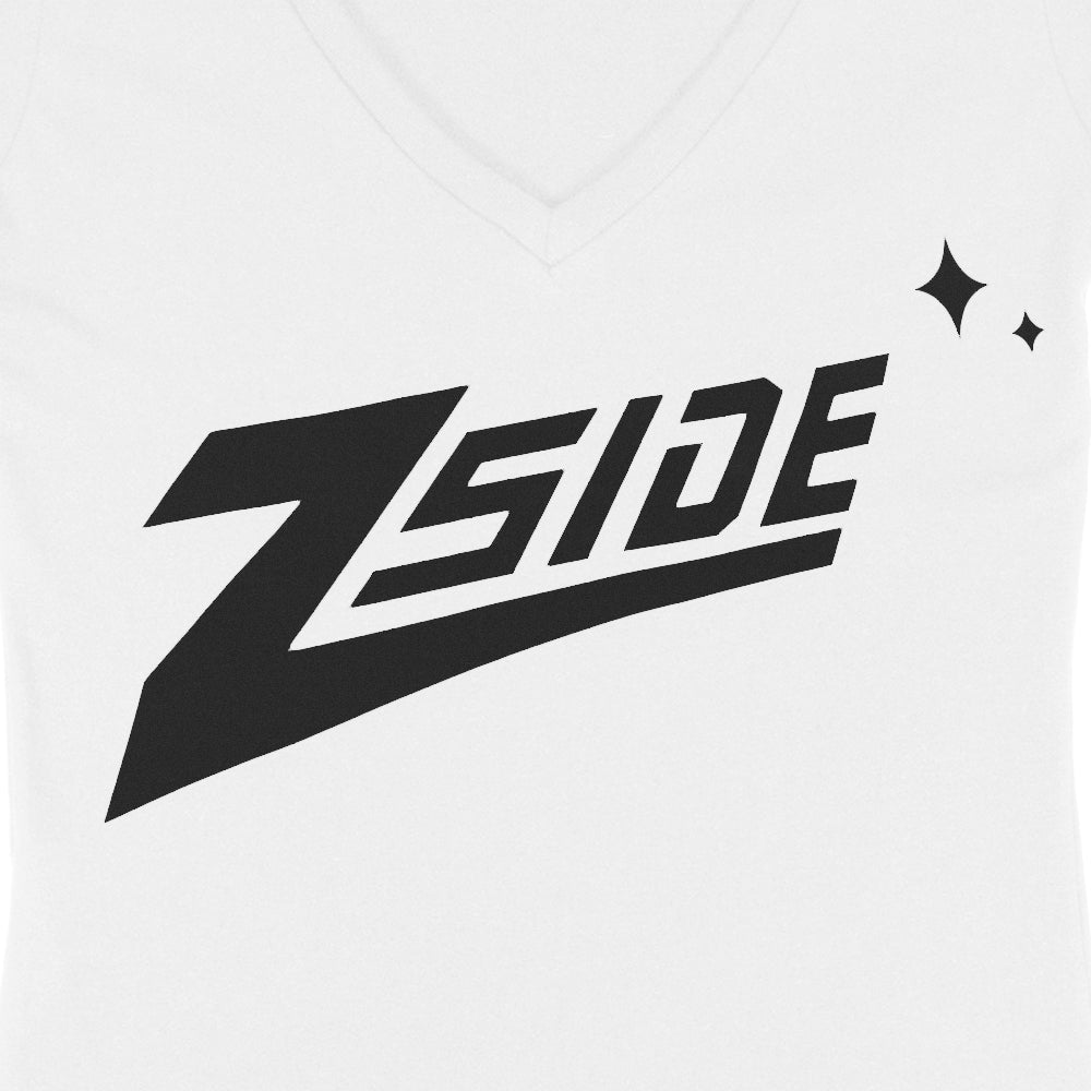 "Lauren Z Side™  ""Z-Side"" Women's V-Neck Tee (White)"