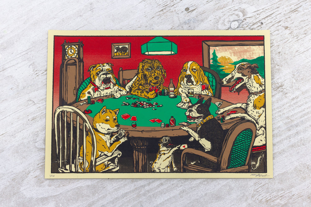 "Dogs Playing Poker 12"" x 18"" Poster"