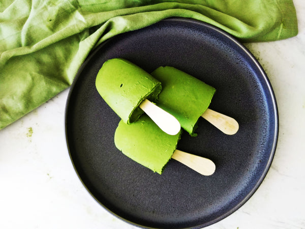 Vibrant Green Matcha-Avocado Coconut Popsicles