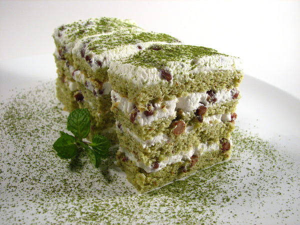 Gluten Free Dairy Free Matcha Cake with Red Bean Cream Filling