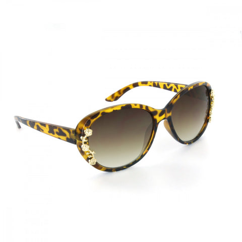 Amanda Oval Sunglasses - With Gold Rose Accent