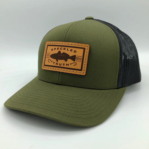 Speckled Truth with Leather Patch Cap (Moss Green/Charcoal)