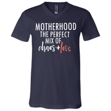 Load image into Gallery viewer, Motherhood The Perfect Mix Of Chaos + Love V- Neck T Shirt