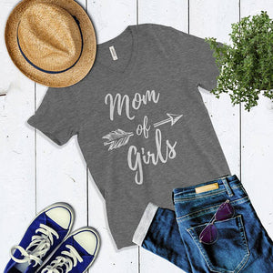 Mom of Girls V-Neck T-Shirt