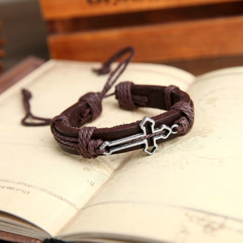 Genuine Leather Cross Bracelet