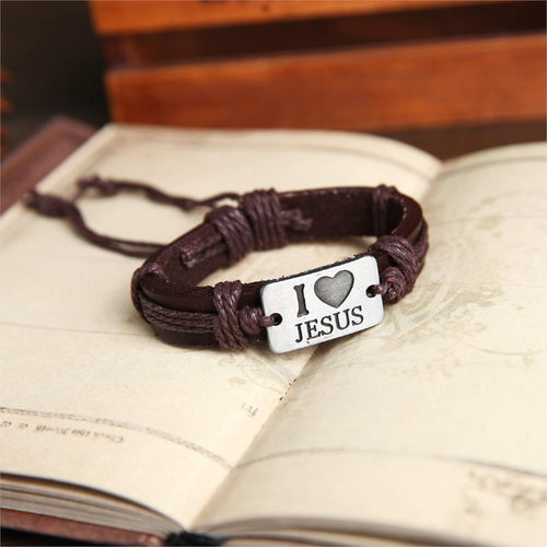 I Love Jesus Genuine Leather Bracelet