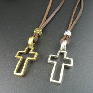 Leather Metal Cross Necklace