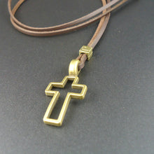 Load image into Gallery viewer, Leather Metal Cross Necklace